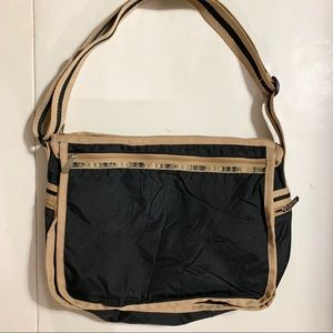 LeSportSac Black/ Tan Crossbody Bag